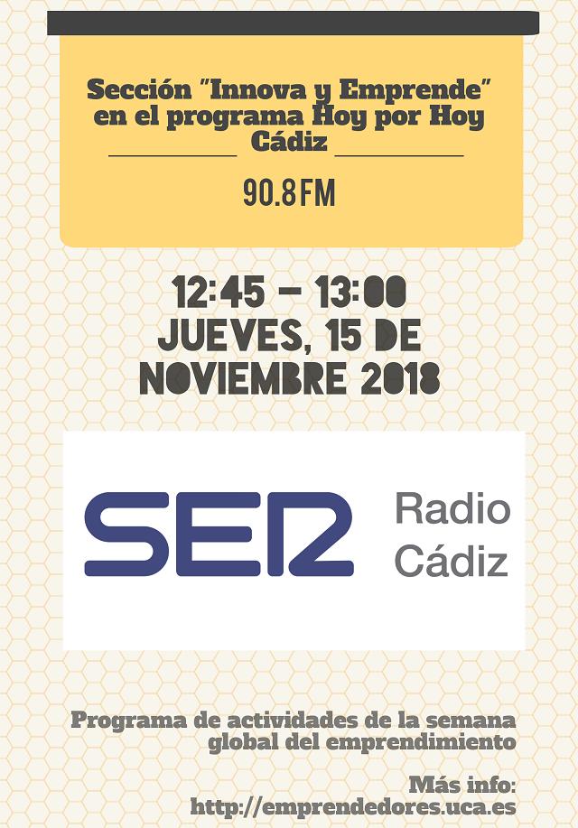 """Sección espacial """"Innova y Emprende"""" en Hoy por Hoy de Radio Cádiz"""