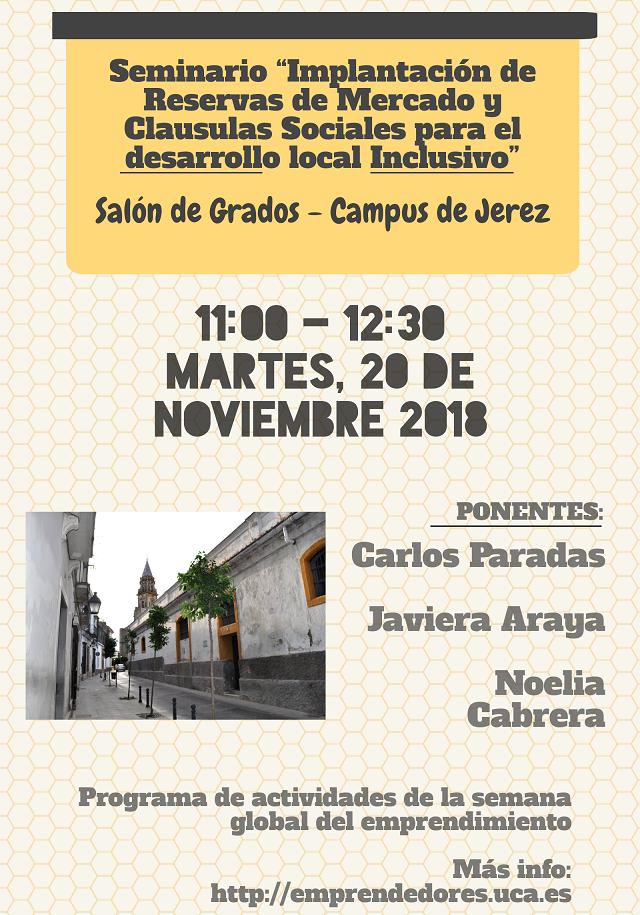 """Seminario """"Implantación de  Reservas de Mercado y Clausulas Sociales para el desarrollo local Inclusivo"""""""