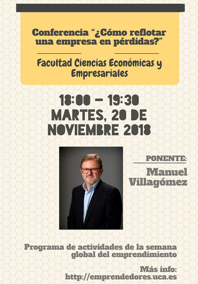 """Conferencia inaugural Másteres Ciencias Económicas y Empresariales """"¿Cómo reflotar una empresa en pérdidas?"""""""